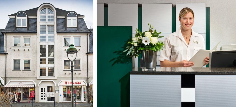 Haus Westfälischen Straße 18, Olpe und der Empfang der Zahnarzt-Praxis Peter Guntermann. Fotos © Dietrich Hackenberg